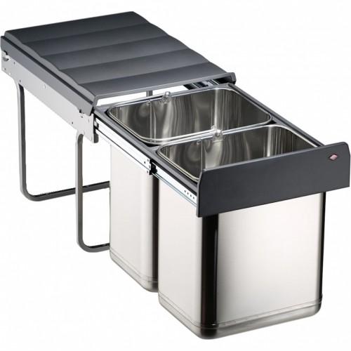 Edel Master Einbau-Abfalleimer aus Edelstahl mit 2x20 Liter
