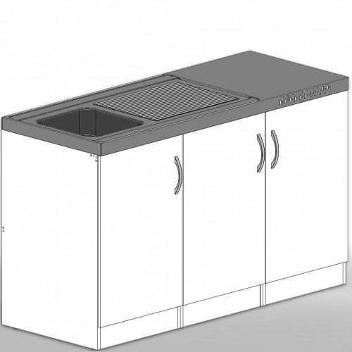 singlek che aus holz 150 cm ohne k hlschrank. Black Bedroom Furniture Sets. Home Design Ideas