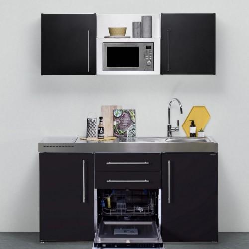 Kompakte Miniküche mit Mikrowelle, Geschirrspüler und Kühlschrank A++, 160  cm breit