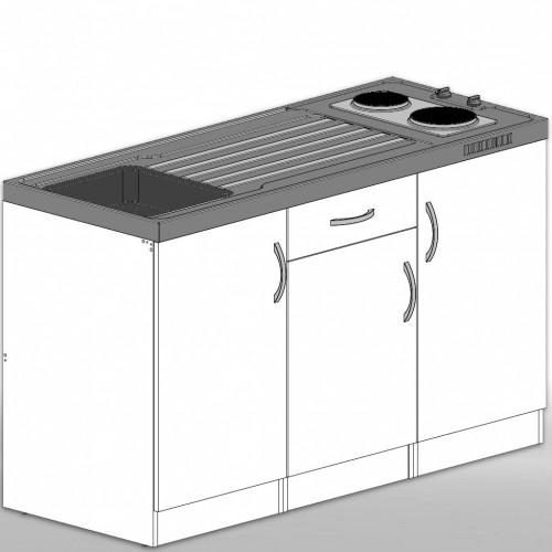 Singleküche Pantryküche dekorfähig aus Holz 150 cm mit Schublade