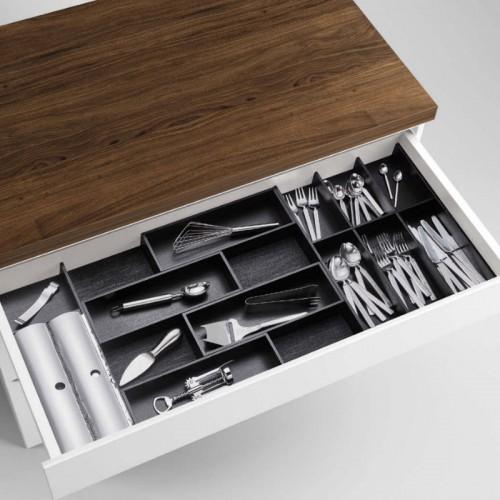 Modify Besteckeinsatz Set 800//900 Esche schwarz//Besteckkasten-Set Holz