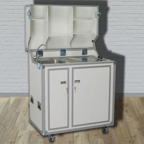 kitcase pro-art Kofferküche weiss matt - Die mobile Küche im Flightcase mit  Rollen