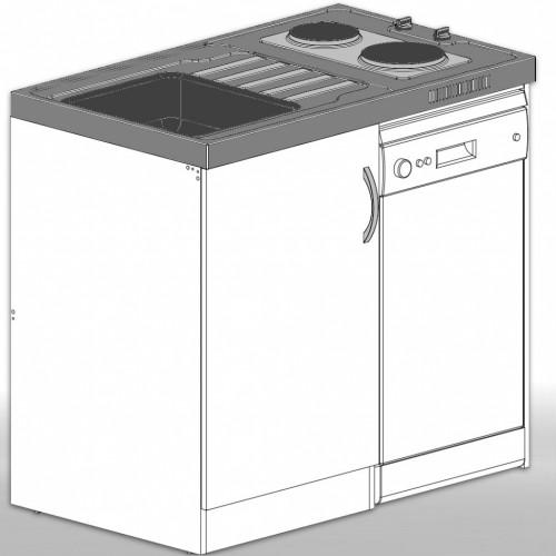 Extrem Singleküche Miniküche mit 45 cm Geschirrspülmaschine A+ HW84