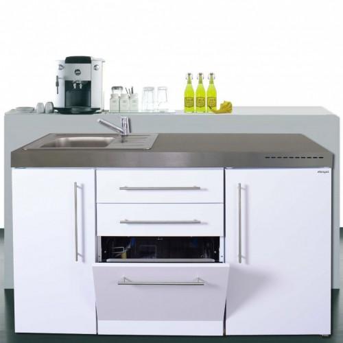 Flex-Well Exclusiv Singleküche/Miniküche Eico 150 cm breit  Magnolienweiß-Tennessee Eiche