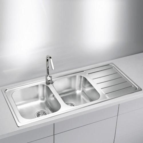 Doppelspülbecken Küche | Doppelspule Mit Abtropfflache Line Maxim 100