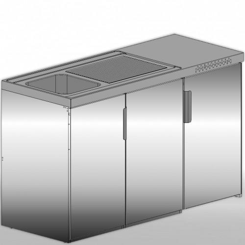 Miniküche Edelstahl 150 cm Breite mit Kühlschrank A+