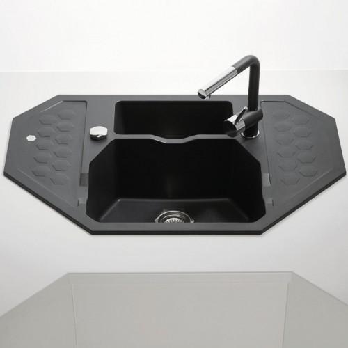 Eckspüle Groß kunstgranit küchen eckspüle sensual 60 mit restebecken