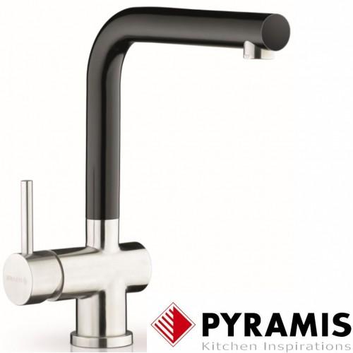 Pyramis Mandolin Fusion Edelstahl Küchen-Armatur mit schwarz abgesetztem  Auslauf